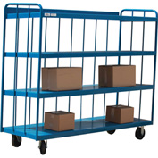 Modern Equipment MECO TS3672R-B 3-Sided 4-Shelf Slatted Panel Steel Truck 72x36 Blue