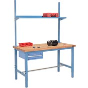 "60""W x 30""D Production Workbench - Maple Butcher Block Square Edge w/ Drawer, Upright & Shelf - Blue"