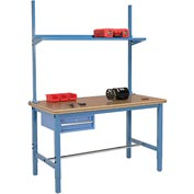 "60""W x 30""D Production Workbench - Shop Top Safety Edge with Drawer, Upright & Shelf - Blue"