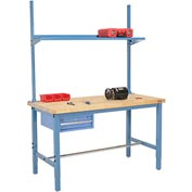 "60""W x 30""D Production Workbench - Birch Butcher Block Square Edge w/ Drawer, Upright & Shelf - Blue"