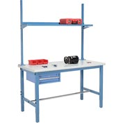 "60""W x 30""D Production Workbench - Plastic Laminate Safety Edge with Drawer, Upright & Shelf - Blue"