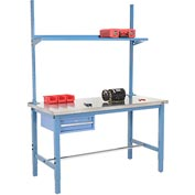 "60""W x 30""D Production Workbench - Stainless Steel with Drawer, Upright & Shelf - Blue"