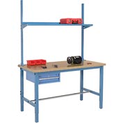 "60""W x 36""D Production Workbench - Shop Top Square Edge with Drawer, Upright & Shelf - Blue"