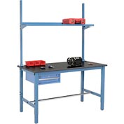 "60""W x 36""D Production Workbench - Phenolic Resin Safety Edge with Drawer, Upright & Shelf - Blue"