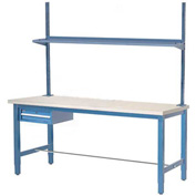 "96""W x 36""D Production Workbench - Maple Butcher Block Square Edge w/ Drawer, Upright & Shelf - Blue"