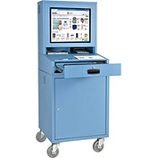 Mobile Security LCD Computer Cabinet Enclosure - Blue (Assembled)