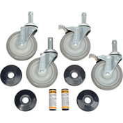 "Nexel® Stainless Steel Stem Casters Set (4) 5"" Poly 2 With Brakes 1200 Lb."
