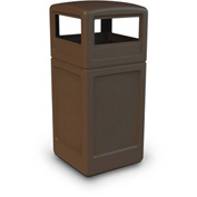 42 Gallon Square Waste Container with Dome Lid - Brown