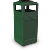 42 Gallon Square Trash Container with Ashtray Lid - Green