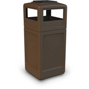 42 Gallon Square Trash Container with Ashtray Lid - Brown