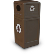 42 Gallon Square Recycling Plastic Container - Brown