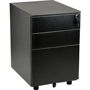 Interion® 3-Drawer Under-Desk File Cabinet for Single & Double Open Office Desks, Black