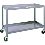 Modern Equipment MECO WSC1836-2 Welded 2 Shelf Service Cart 18x36 Rubber 500 Lb.