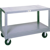Modern Equipment MECO 5MS304-2 Mobile Steel Table 2 Shelf 30x48 Rubber 1400 Lb.