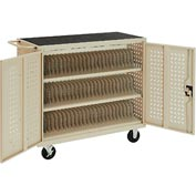 Mobile Storage & Charging Cart for 75 iPad® Tablet Devices (Putty) - Assembled