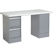 "60""W x 30""D Pedestal Workbench W/ 2 Drawers and Cabinet, Plastic Laminate Safety Edge - Gray"