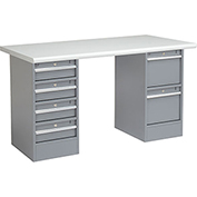"60""W x 30""D Pedestal Workbench W/ 6 Drawers, Plastic Laminate Safety Edge - Gray"