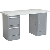 """60""""W x 30""""D Pedestal Workbench W/ 2 Drawers and Cabinet, Plastic Laminate Square Edge - Gray"""