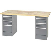 "96""W x 30""D Pedestal Workbench W/ 5 Drawers, Maple Butcher Block Square Edge - Gray"