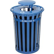 Global™ Outdoor Steel Recycling Receptacle with Rain Bonnet Lid - 36 Gallon Blue