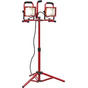 Global™ Portable Dual LED Worklight Floodlights w/Tripod, 20Wx2, 3600 Lumens, IP65, Red