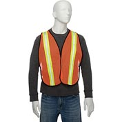 "Global Industrial Hi-Vis Safety Vest, 2"" Lime/Silver Strips, Polyester Mesh, Orange, One Size"