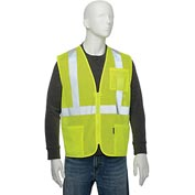 "Global Industrial Class 2 Hi-Vis Safety Vest, 2"" Reflective Strips, Polyester Mesh, Lime, Size XL"