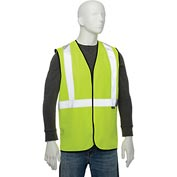 "Global Industrial Class 2 Hi-Vis Safety Vest, 2"" Reflective Strips, Polyester Solid, Lime, Size L/XL"