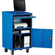 Mobile Computer Cabinet, Blue - Assembled