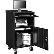 Mobile Computer Cabinet, Black - Assembled