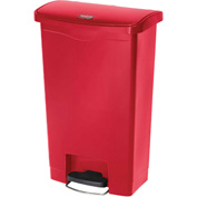 Rubbermaid® Slim Jim® 1883564 Plastic Step On Container, Front Step 8 Gallon - Red