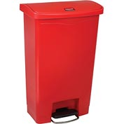 Rubbermaid® Slim Jim® 1883566 Plastic Step On Container, Front Step 13 Gallon - Red