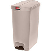 Rubbermaid® Slim Jim® 1883551 Plastic Step On Container, End Step 18 Gallon - Beige