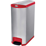 Rubbermaid® Slim Jim® 1902003 Stainless Steel Step On Can, End Step 24 Gallon - Red