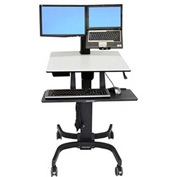 Ergotron® WorkFit-C Dual Sit-Stand Workstation Cart