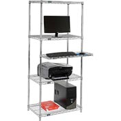"Wire shelf computer workstation with keyboard shelf 30""W x 18""D x 74""H - Chrome"