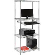 "Wire shelf computer workstation with slide out keyboard shelf 30""W x 18""D x 74""H - Chrome"