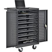 Mobile Storage & Charging Cart for 12 Laptop & Chromebook™ Devices (Black) - Assembled