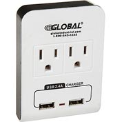 Global™ 2 Outlet Wall Adapter w/ 2 USB Charging Ports, 15A, 125V, 1875W, 5V DC, 2.4A, UL/CUL