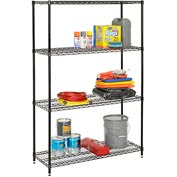 "Nexel Best Value Wire Shelving Unit 48""W x 24""D x 74""H (400 lb shelf cap) Black Epoxy"