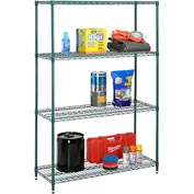 "Nexel Best Value Wire Shelving Unit 36""W x 24""D x 74""H (400 lb shelf cap) Green Epoxy"