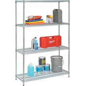 "Nexel Best Value Wire Shelving Unit 36""W x 24""D x 74""H (400 lb shelf cap) Zinc Chromate"
