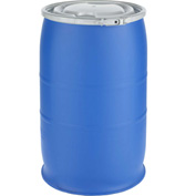 Mauser 30 Gallon Open-Head Plastic Drum with Plain Cover POLY30OHBLPC - Blue