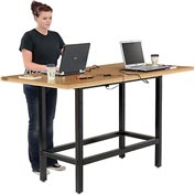 "Bar Height Computer Workstation Table with Power Apron/Charging Outlets 72"" x 36""  Wood"