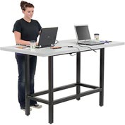 "Bar Height Computer Workstation with Power Apron/Charging Outlets, 72""W x 36""D x 42""H, Light Gray"