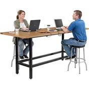 "Bar Height Computer Workstation with Power Apron/Charging Outlets, 96""W x 36""D x 42""H, Wood"