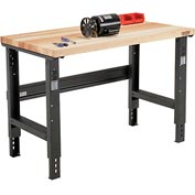 "48""W X 30""D Maple Butcher Block Square Edge Workbench - Adjustable Height - Black"