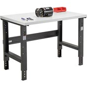 "48""W X 36""D Plastic Laminate Square Edge Workbench - Adjustable Height - Black"