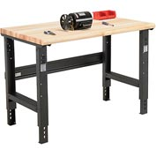 "48""W X 36""D Maple Butcher Block Safety Edge Workbench - Adjustable Height - Black"