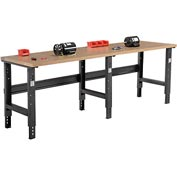 "96""W X 30""D Shop Top Square Edge Workbench - Adjustable Height - Black"